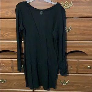 Long Sleeve Black Mesh Bodycon Dress